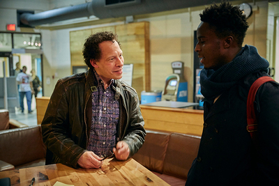 Lawrence Hill chats with a Sheridan student
