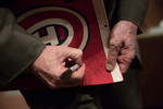 Ken Dryden signs a Montreal Canadiens banner