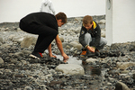 """Boys Playing in """"Riverbed"""" an Art/Landscape Installation by Olafur Eliasson at the Louisiana Museum of Modern Art, Copenhagen, Denmark (2014)"""