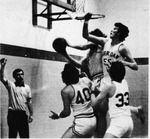 06 Roger Tickner (55) and Norm Hicks (33), seen here in earlier action, were keys to Sheridan's 76-68 victory over Niagara on Monday. the Bruins stressed defense most of the way. by Ted Shaw